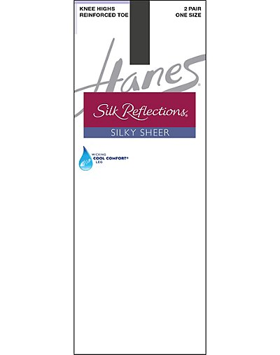 Hanes Silk Reflections Silky Sheer Knee Highs with Reinforced Toe 2-Pack Barely Black ONE SIZE