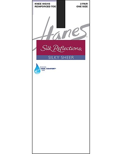 Hanes Silk Reflections Silky Sheer Knee Highs with Reinforced Toe 2-Pack Jet ONE SIZE