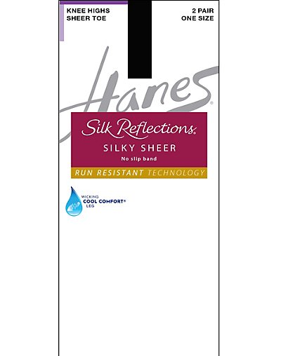 Hanes Silk Reflections Silky Sheer No-Slip Band Knee Highs with Run Resistant Technology 2-Pack Jet ONE SIZE
