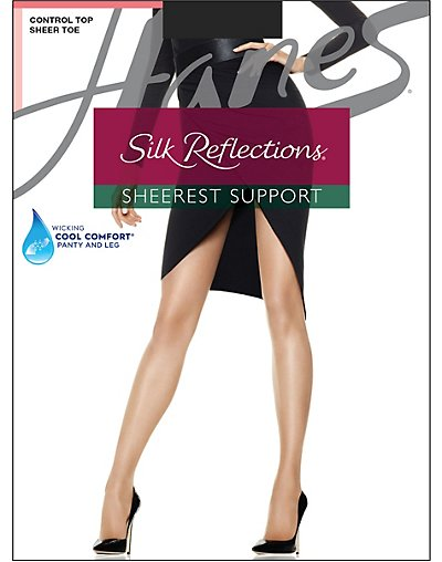Hanes Silk Reflections Sheerest Support Control Top Sheer Toe Jet CD