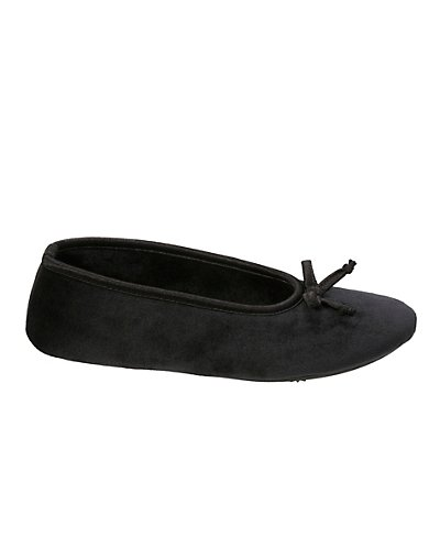 Dearfoams Women's Microfiber Velour Ballerina Slipper with Memory Foam Black XL