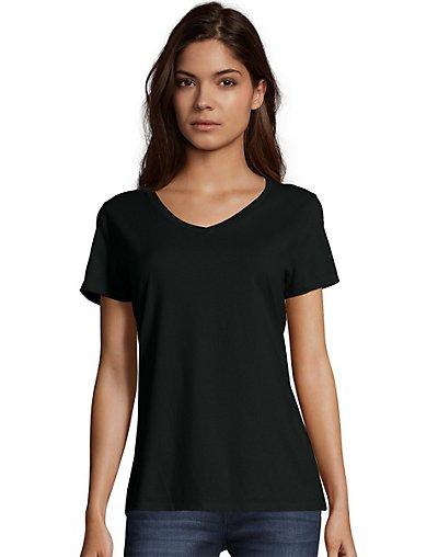 Hanes Women's Nano-T V-Neck T-Shirt Black XS