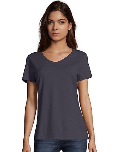 Hanes Women's Nano-T V-Neck T-Shirt Vintage Black XS