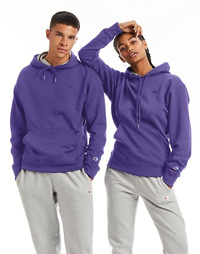 Champion Men's Powerblend Fleece Pullover Hoodie Purple S
