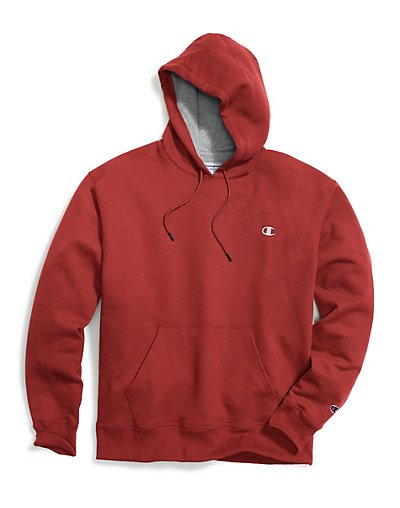 Champion Men's Powerblend Fleece Pullover Hoodie Team Red Scarlet/White C L