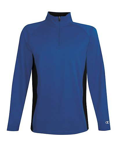 Champion Men's Performance Fleece Quarter Zip Pullover Athletic Royal/Black XL