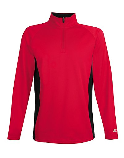 Champion Men's Performance Fleece Quarter Zip Pullover Scarlet/Black 2XL
