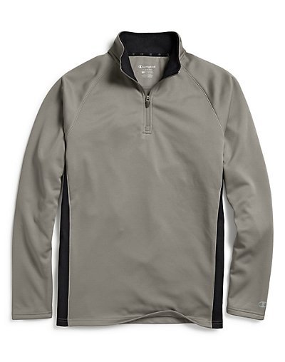 Champion Men's Performance Fleece Quarter Zip Pullover Stone Gray/Black M