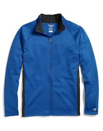 Champion Men's Performance Fleece Full Zip Jacket Athletic Royal/Black XL