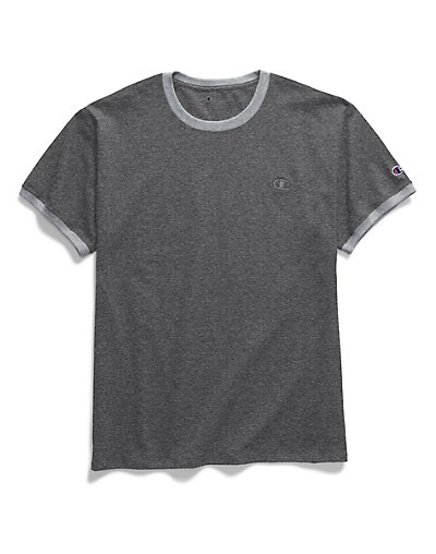 Champion Men's Classic Jersey Ringer Tee Granite Heather/Oxford Grey XL