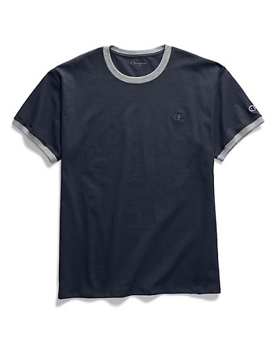 Champion Men's Classic Jersey Ringer Tee Navy/Oxford Grey XL