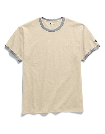 Champion Men's Classic Jersey Ringer Tee Oatmeal Heather/Oxford Grey 2XL