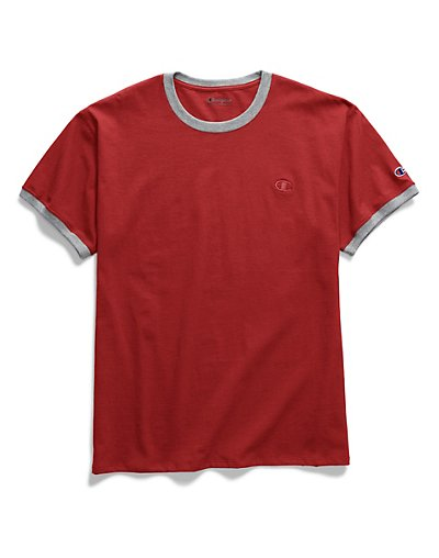 Champion Men's Classic Jersey Ringer Tee Scarlet/Oxford Grey 2XL