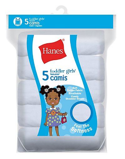 Hanes TAGLESS Toddler Girls' Cami White 5-Pack 2/3
