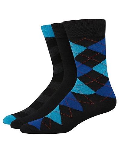 Hanes Ultimate Men's FreshIQ Assorted Dress Socks 3-Pack Black Assortment 10-13