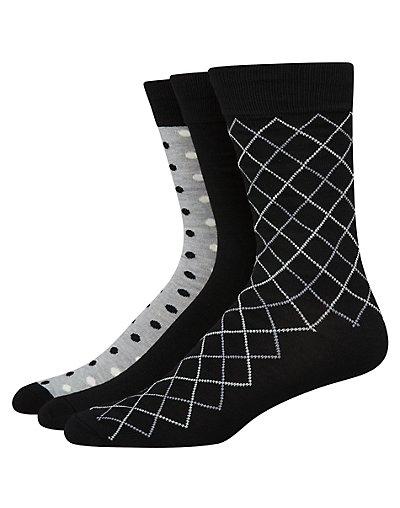 Hanes Ultimate Men's FreshIQ Assorted Dress Socks 3-Pack Black/White Assortment 10-13