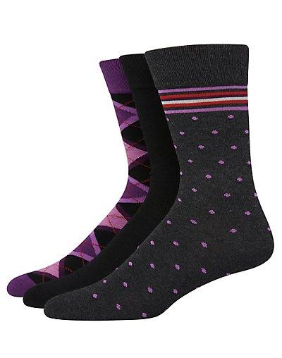 Hanes Ultimate Men's FreshIQ Assorted Dress Socks 3-Pack Charcoal/Purple Assortment 10-13