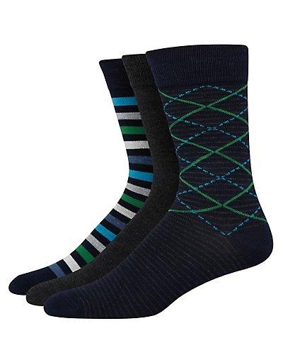Hanes Ultimate Men's FreshIQ Assorted Dress Socks 3-Pack Navy Assortment 10-13