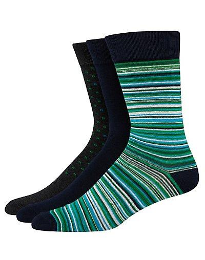 Hanes Ultimate Men's FreshIQ Assorted Dress Socks 3-Pack Navy/Charcoal Assortment 10-13