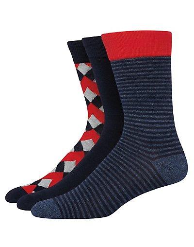 Hanes Ultimate Men's FreshIQ Assorted Dress Socks 3-Pack Navy Heather Assortment 10-13