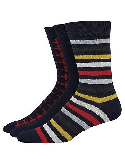 Hanes Ultimate Men's FreshIQ Assorted Dress Socks 3-Pack Navy/Red Assortment 10-13