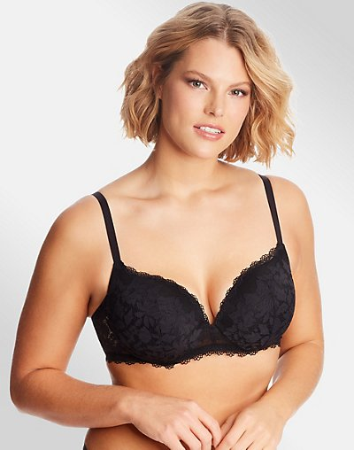 Lace Push Up Underwire - Black