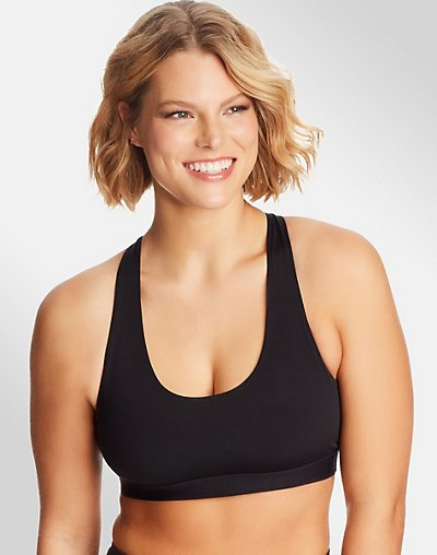 Sporty Racerback Sports Bra - Black
