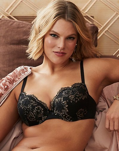 Push Up & In Underwire Bra - Black w/Gold