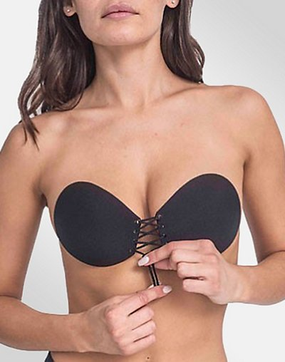 Lace Up Adhesive Bra - Black