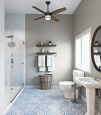 Bathroom with a Ceiling Fan | Hunter Fan