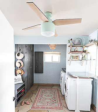 Stylish ceiling fans for every room hunter fan company laundry room things heat up while the machines are running a fan like the cranbrook will help you stay cool while you do the chores aloadofball Choice Image