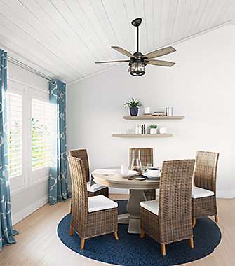 Whether You Re In For A Dinner Two Or Family Feast Your Dining Room Will Be Bright And Cool With Hunter Ceiling Fan Lights Like The