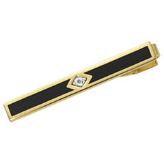 22K Gold Electroplated Tie Bar w/Diamond Chip