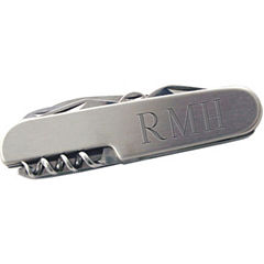 Satin Silver Engravable Multi-Purpose Pocket Knife