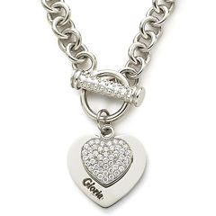Personalized Cubic Zirconia Sterling Silver Heart Pendant Necklace