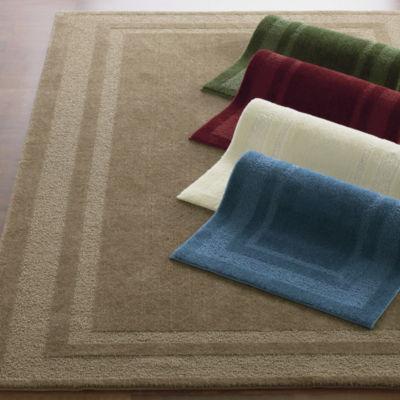 double border washable rectangular rug