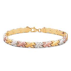 10K Tri-Color Gold Stampato Link Bracelet