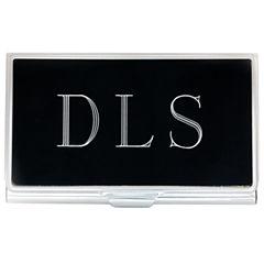 Engravable Black Business Card Holder