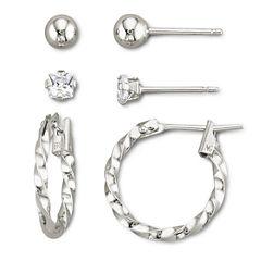 Childrens 3-Pr. Earring Set Sterling Silver