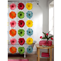 Maytex Gerber Daisy PEVA Vinyl Shower Curtain