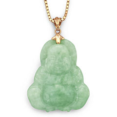 Genuine Jade Buddha Pendant Necklace 14K Yellow Gold Over Silver