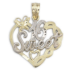 14K Two-Tone Gold Sweet 16 Pendant