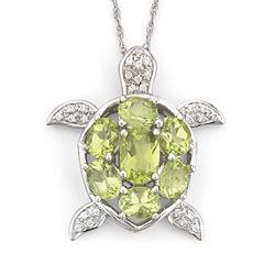 Genuine Peridot & White Topaz Turtle Pendant Necklace