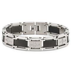 Men's Diamond Cross Bracelet Stainless Steel