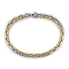 Men's Square Link Bracelet in Two-Tone Steel