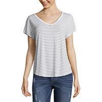 2261a4c2ad2c Arizona-Womens V Neck Short Sleeve T-Shirt Juniors