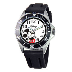 Disney Mickey Mouse Mens Black Strap Watch-W000507