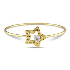Genuine White Topaz Yellow Gold Over Silver Bangle Bracelet
