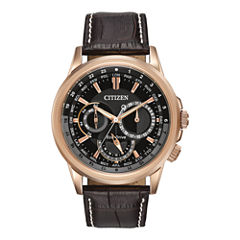 Citizen® Eco-Drive® Calendrier Mens Brown Leather Strap Watch BU2023-04E