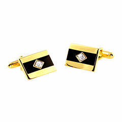 Gold-Tone Diamond Accent Cuff Links